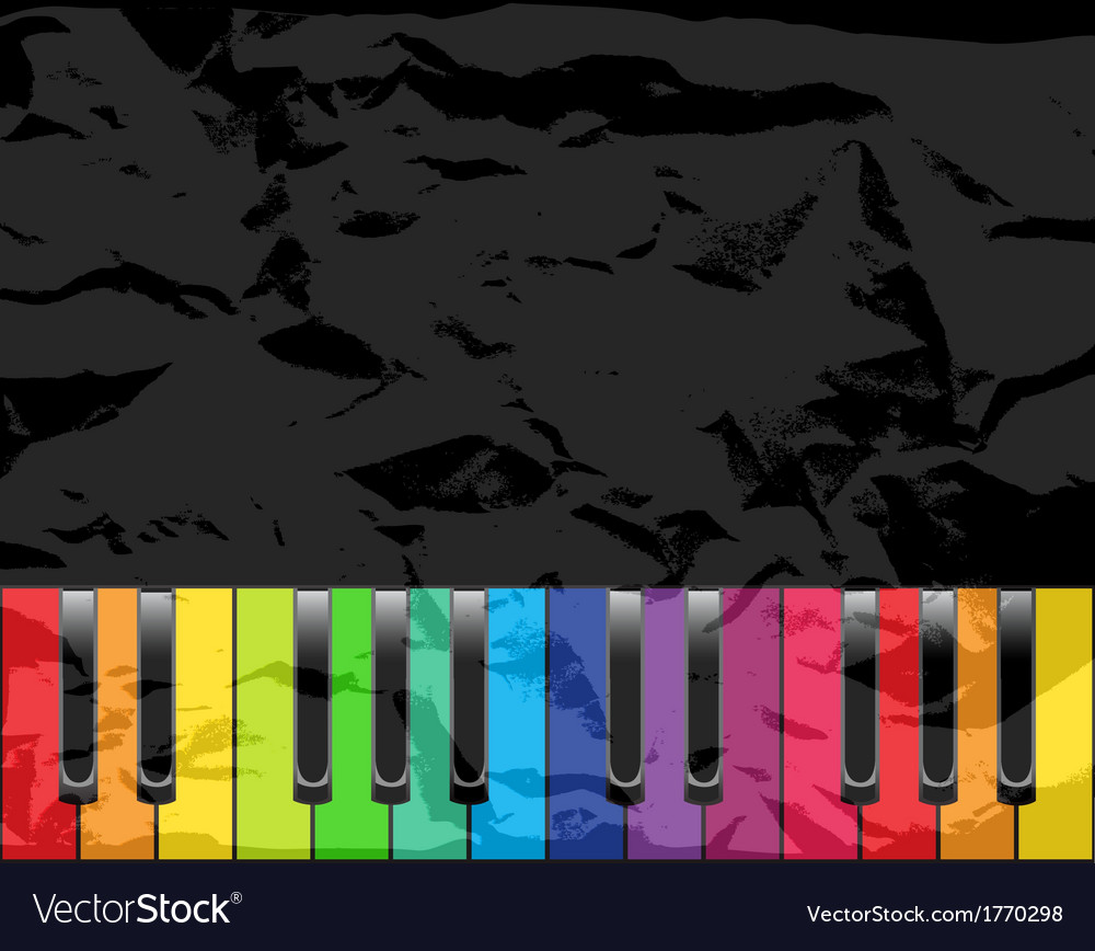Piano with multicolored keys vector | Price: 1 Credit (USD $1)
