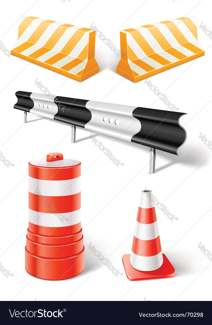 Road repair or construction objects vector | Price: 1 Credit (USD $1)