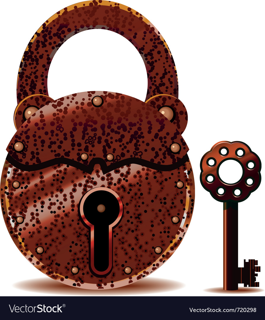 Rusty padlock and key vector | Price: 1 Credit (USD $1)