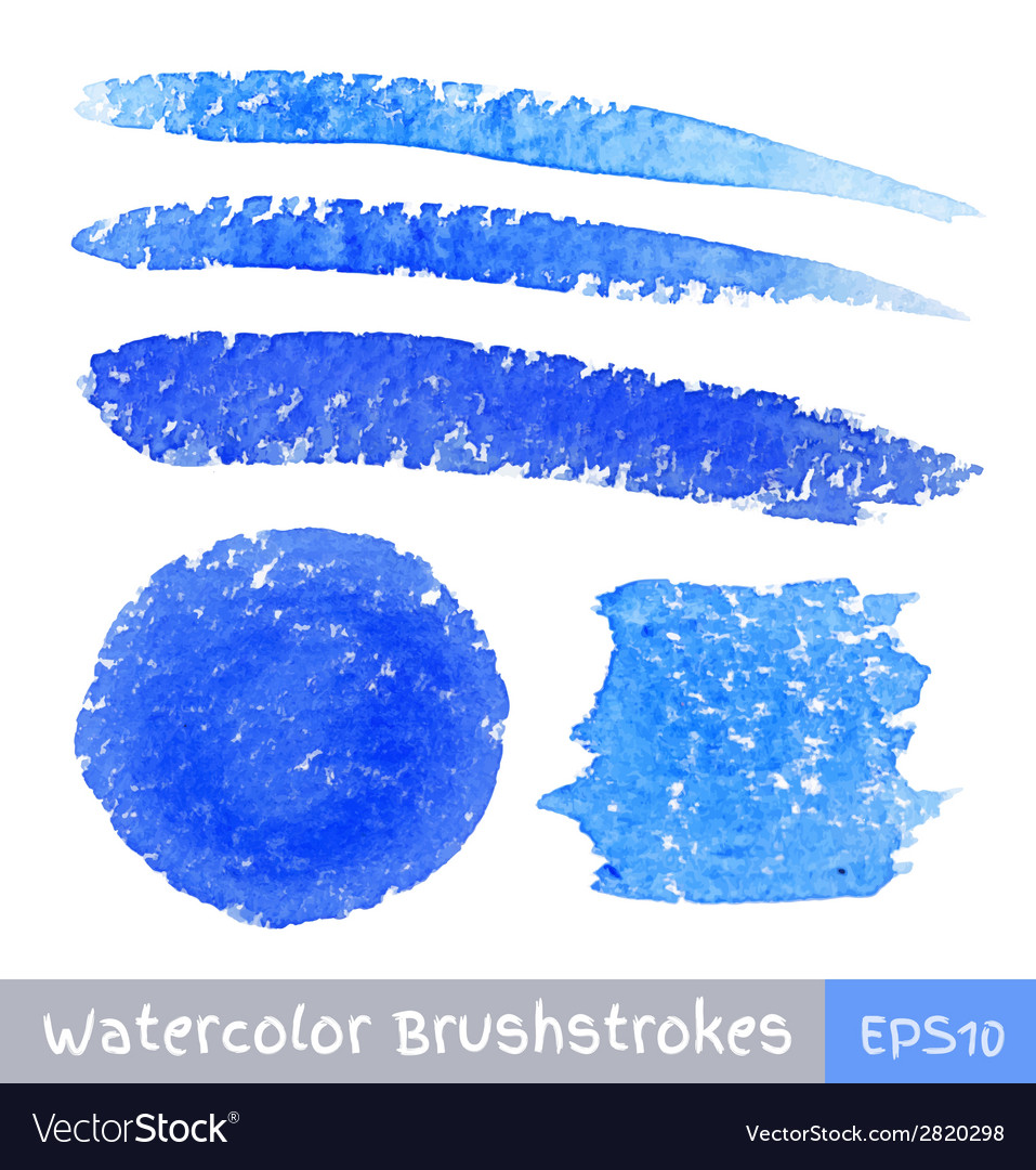 Set of blue watercolor brush strokes vector | Price: 1 Credit (USD $1)