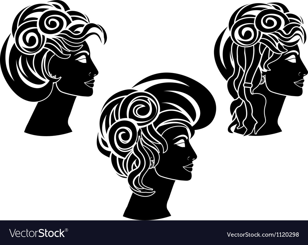 Set of hairstyles stencil vector | Price: 1 Credit (USD $1)