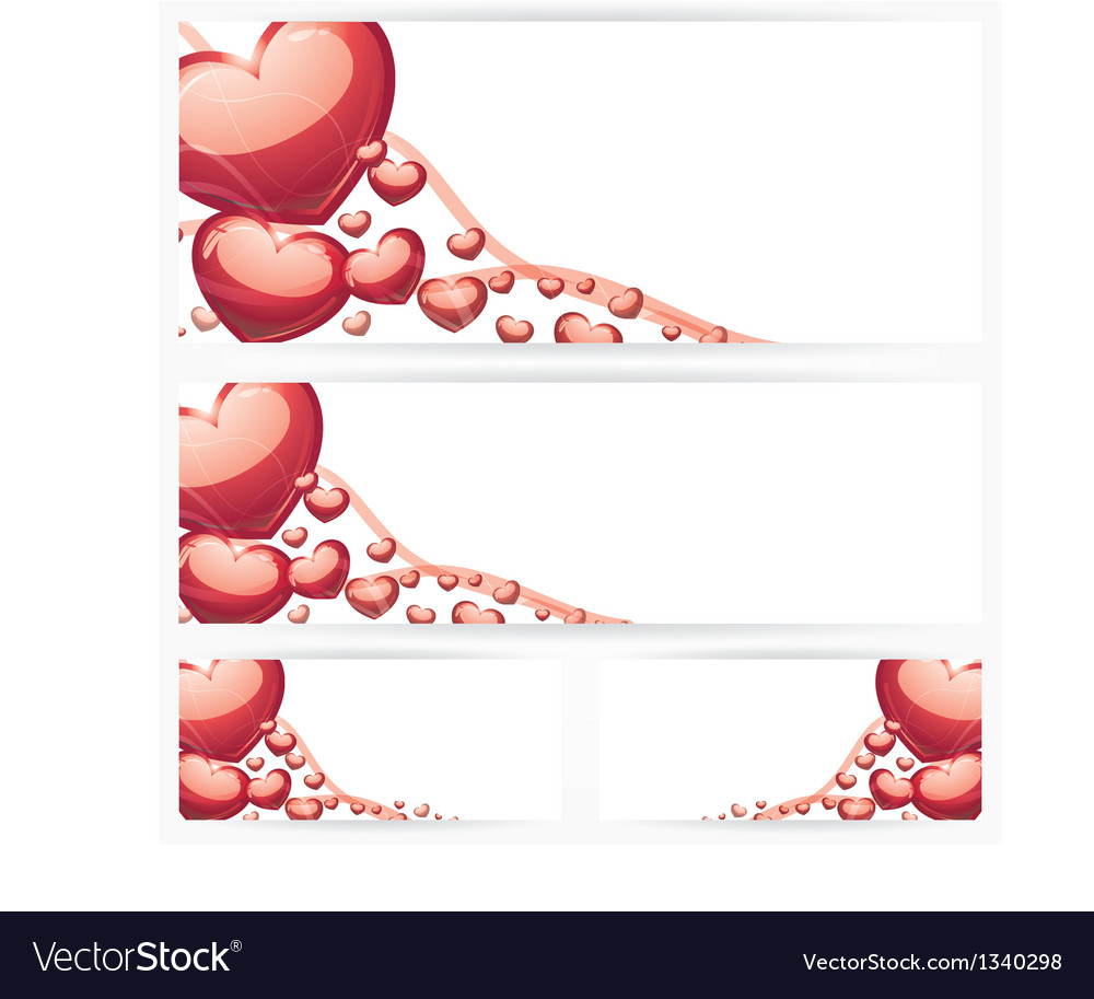 Set of horizontal banners with hearts background vector | Price: 1 Credit (USD $1)