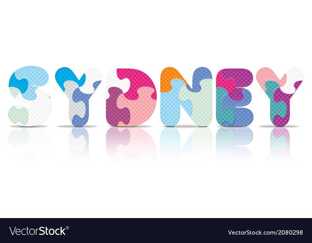 Sydney written with alphabet puzzle vector   Price: 1 Credit (USD $1)