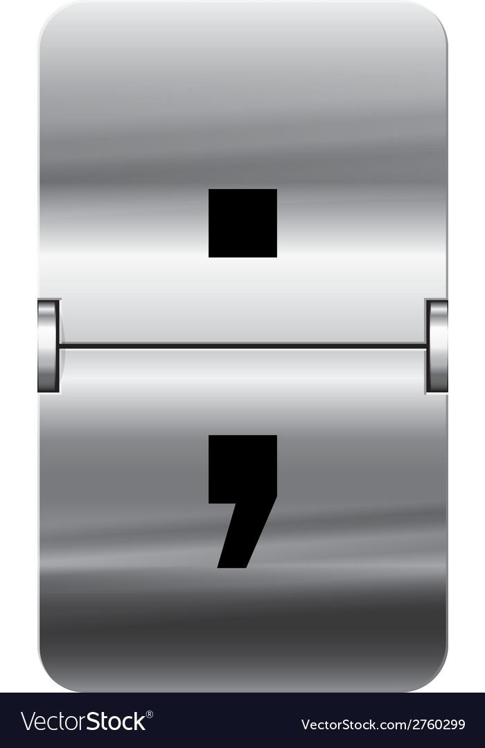 Alphabet silver flipboard letters semicolon vector | Price: 1 Credit (USD $1)