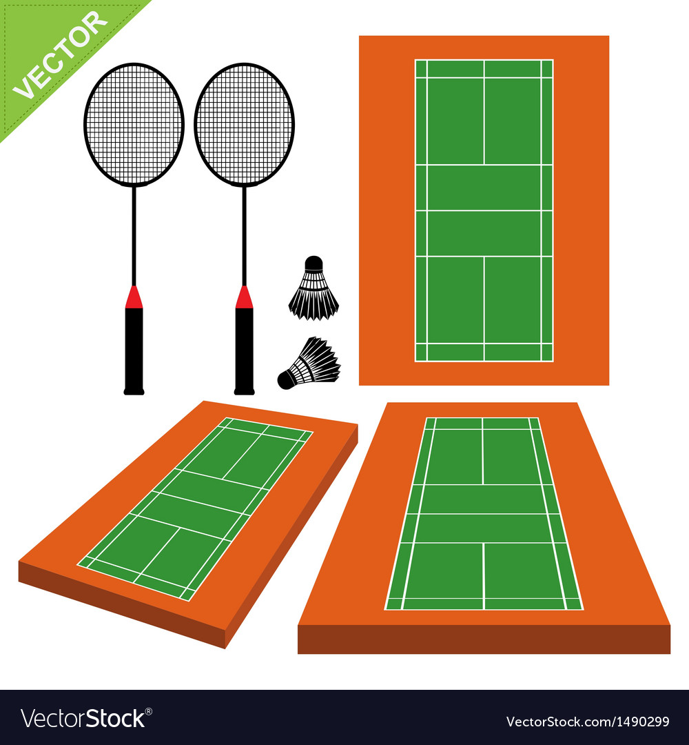 Badminton and court vector | Price: 1 Credit (USD $1)