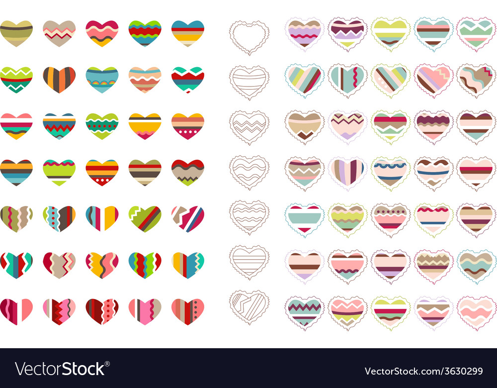 Big set with different stylized hearts vector