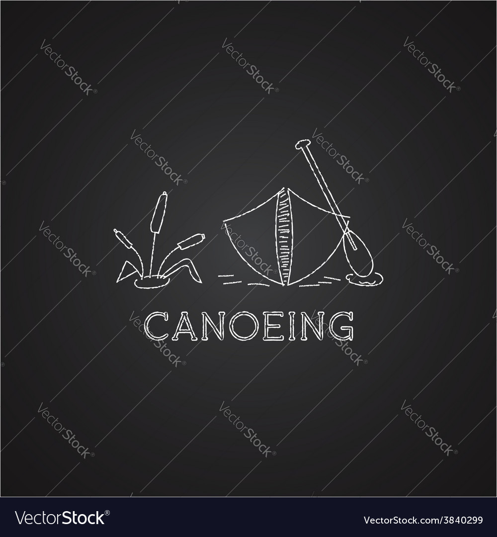 Canoe logo and icon chalk drawing design on black vector | Price: 1 Credit (USD $1)