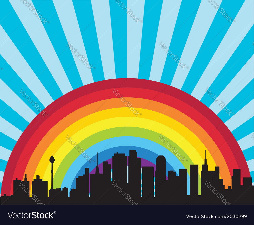 City and rainbow vector | Price: 1 Credit (USD $1)
