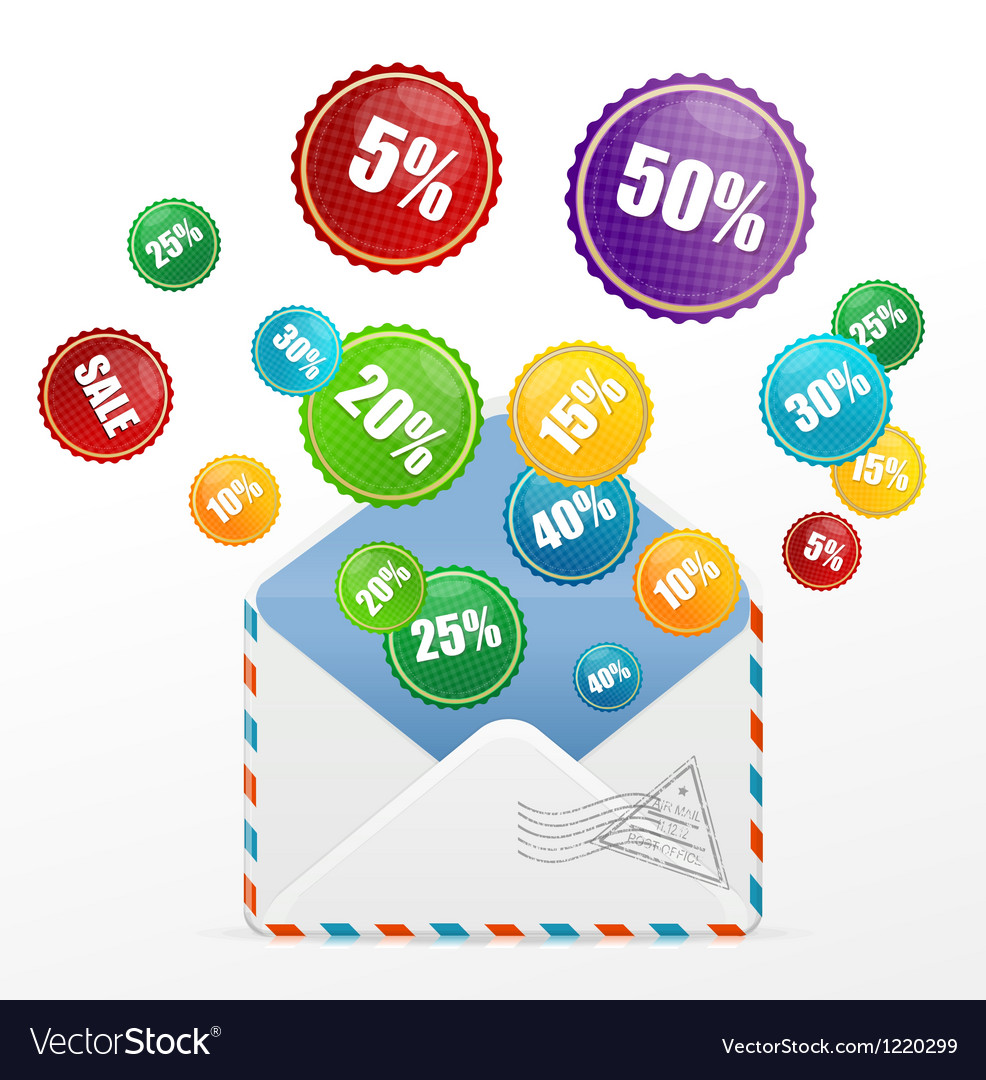 Detailed envelope and sale labels vector | Price: 3 Credit (USD $3)