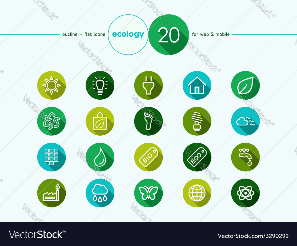 Green ecology flat icons set vector | Price: 1 Credit (USD $1)