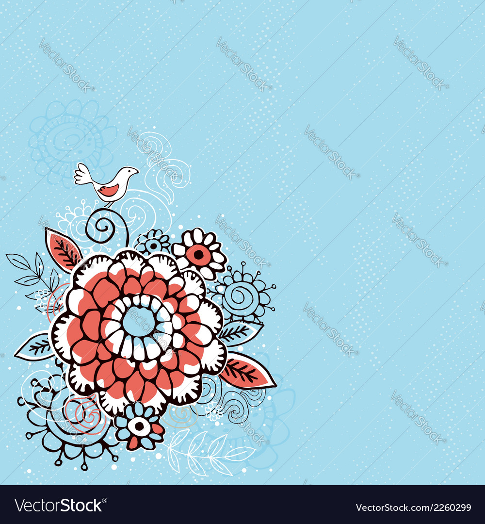 Hand draw flowers on blue grunge background vector | Price: 1 Credit (USD $1)