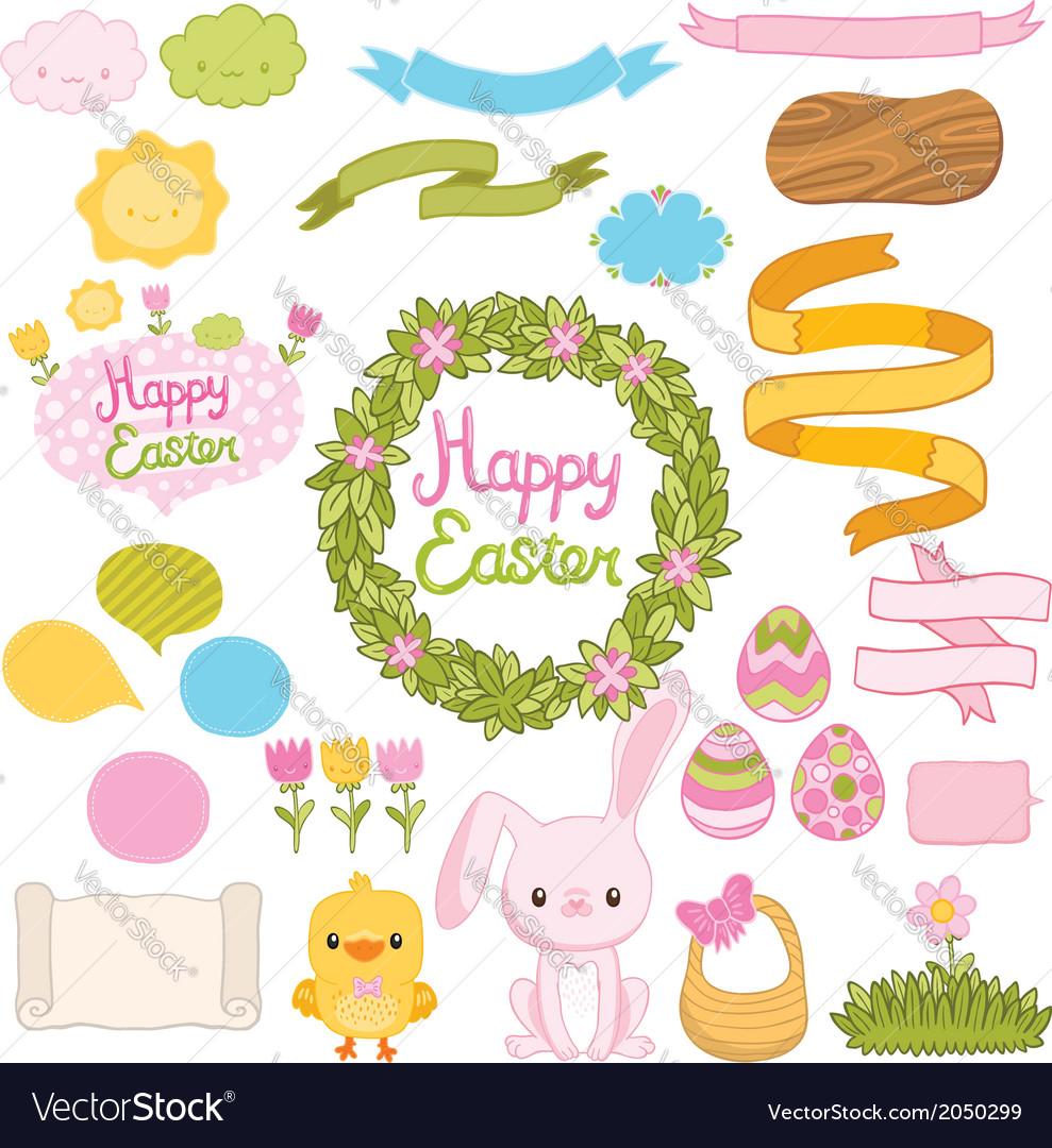 Happy easter set with cartoon cute bunny chicken vector | Price: 1 Credit (USD $1)