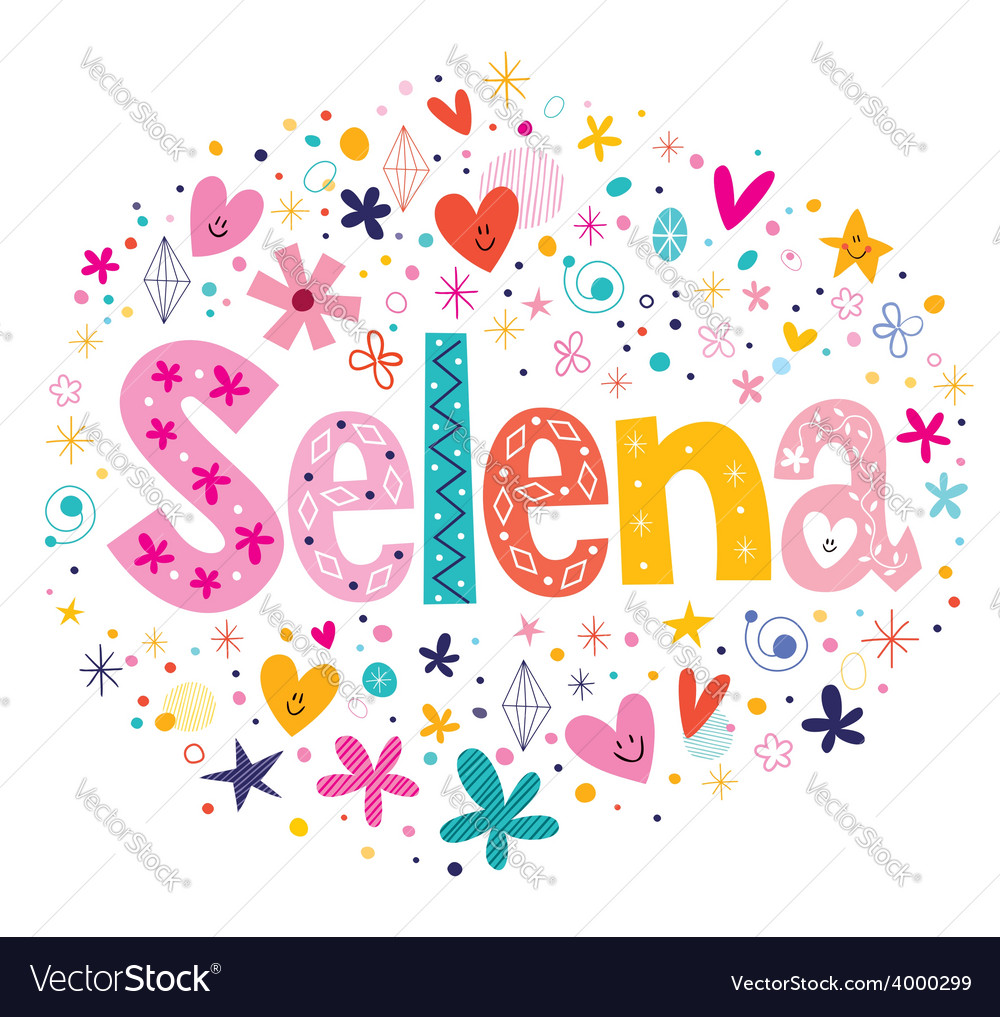 Selena female name decorative lettering type vector | Price: 1 Credit (USD $1)