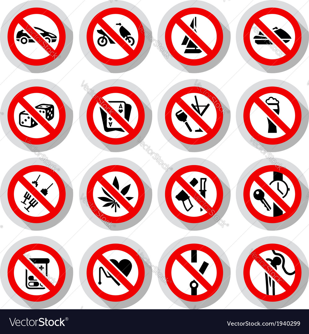 Set prohibited symbols on paper stickers vector | Price: 1 Credit (USD $1)