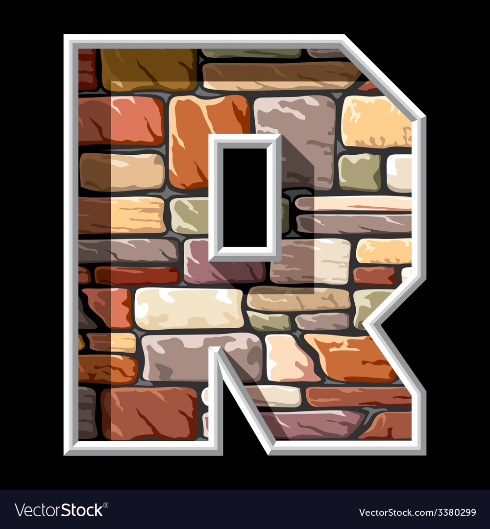 Stone letter r vector | Price: 1 Credit (USD $1)