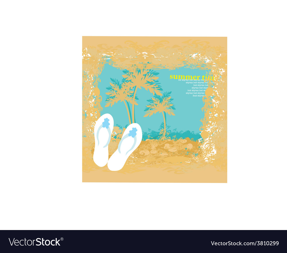 Summer holiday grunge background with slippers vector | Price: 1 Credit (USD $1)