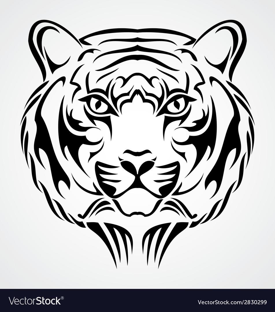 Tiger face tattoo design vector | Price: 1 Credit (USD $1)