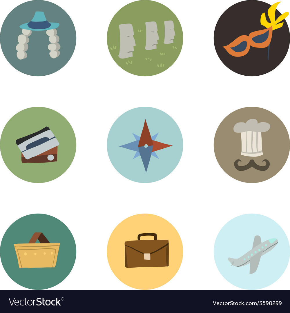 Travel icons set part 2 vector | Price: 1 Credit (USD $1)