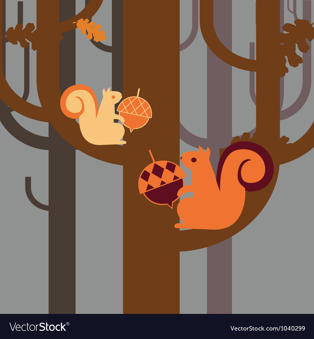 Wood squirrel with an acorn vector | Price: 1 Credit (USD $1)