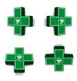 Green medical cross emblem vector