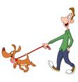 Man walking dog vector