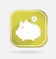 Piggy bank color square icon vector
