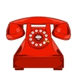 Vintage red phone with buttons dial ring vector