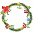 Green christmas wreath with decorations vector