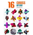 Set of cross abstract geometric shape infographics vector