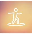 Boy on the surf board thin line icon vector