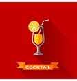 With a cocktail in flat design style with long vector