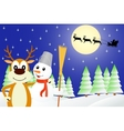 Deer and the snowman vector