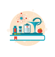 Set flat icons of objects medicine laboratory vector