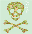 The skull of the flowers vector