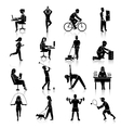 Physical activity icons black vector