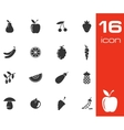 Black fruits and vegetables icons set on white vector