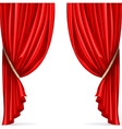 Red curtain collected in folds ribbon isolated on vector