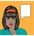 Cute retro black woman in comics style vector