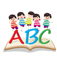 Happy kids playing with letter and on book vector