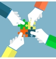 Businessman assembling jigsaw puzzle vector