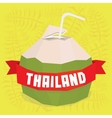 Thailand coconut cocktail postcard vector
