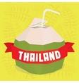 Thailand coconut cocktail postcard vector