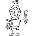 Boy in knight costume coloring page vector