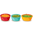 Bowls of food vector