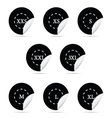 Size clothing black sticker set vector