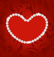 Floral postcard with heart made in pearls for vector