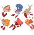 Set of crabs cartoon vector