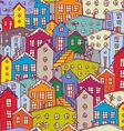 Cityscape seamless pattern sketch orange blue vector