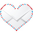 Heart shaped envelope vector