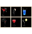 Set of cocktail glasses and wine glasses vector